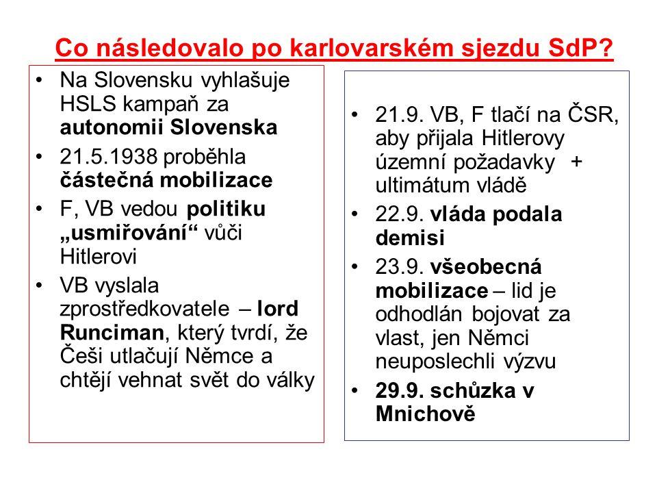 Co následovalo po karlovarském sjezdu SdP? Na Slovensku vyhlašuje HSLS kampaň za autonomii Slovenska 21.5.1938 proběhla částečná mobilizace F, VB vedo