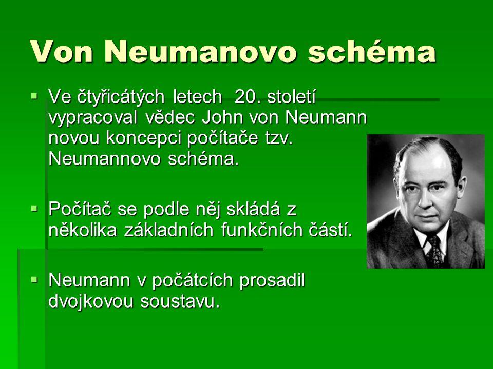 Von Neumanovo schéma  Ve čtyřicátých letech 20. století vypracoval vědec John von Neumann novou koncepci počítače tzv. Neumannovo schéma.  Počítač s