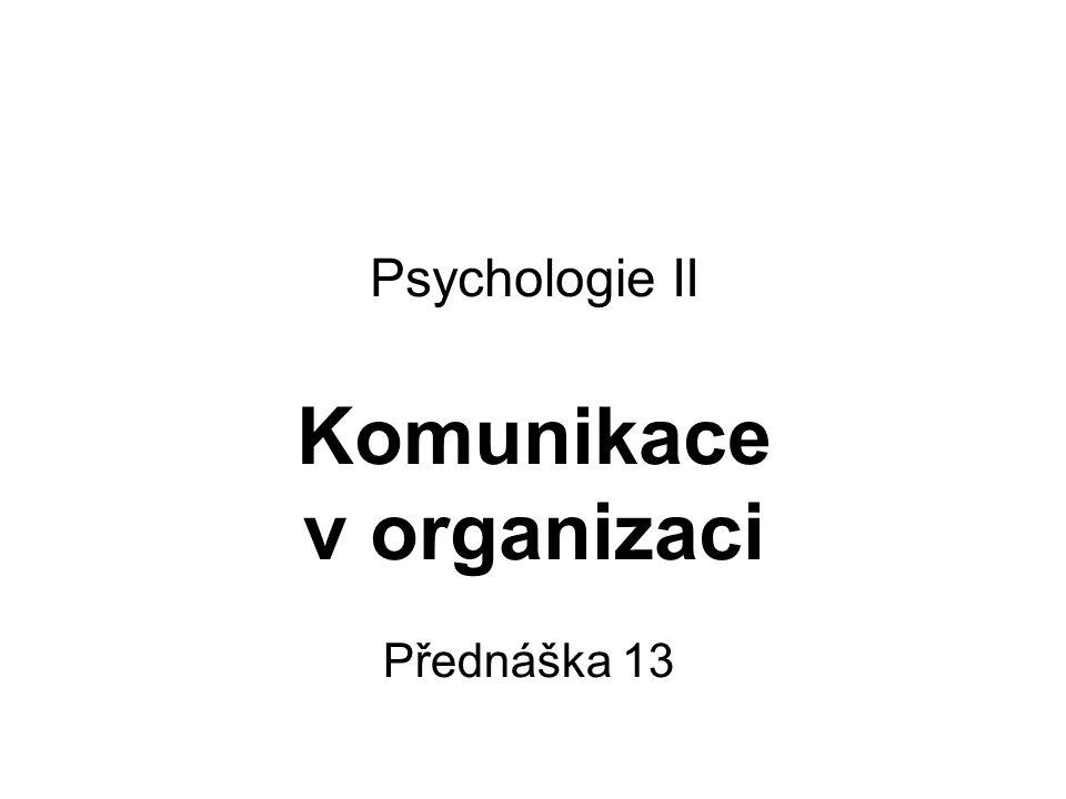 Psychologie II Komunikace v organizaci Přednáška 13