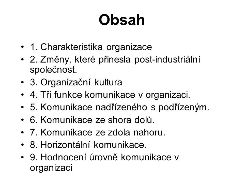 Obsah 1.Charakteristika organizace 2. Změny, které přinesla post-industriální společnost.