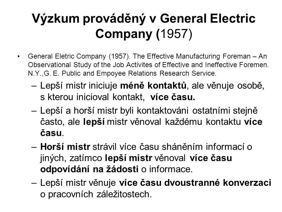 Výzkum prováděný v General Electric Company (1957) General Eletric Company (1957).