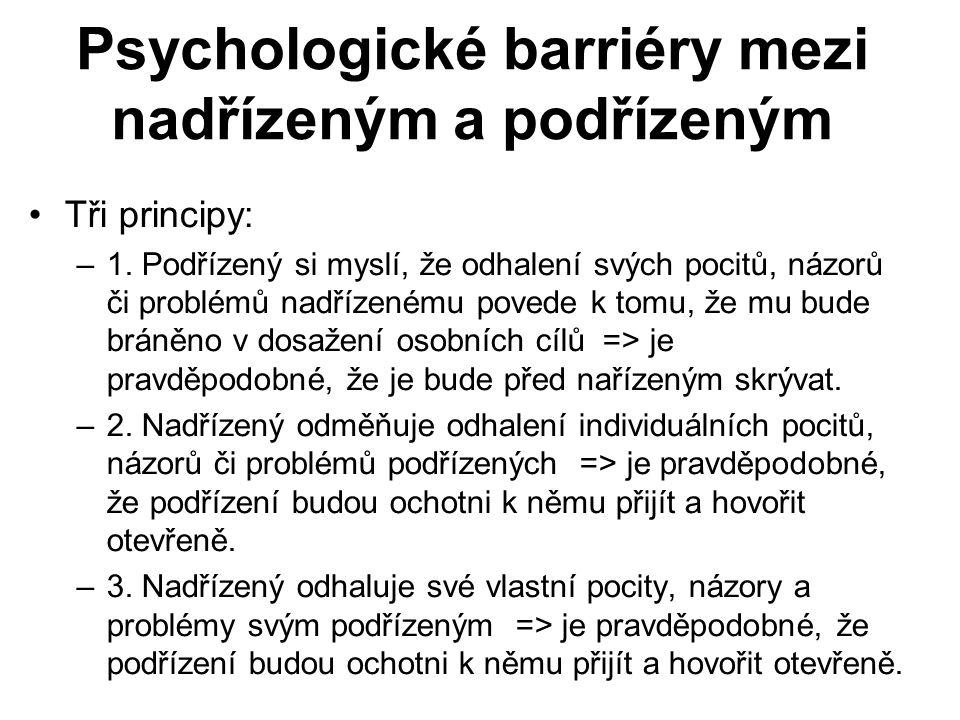 Psychologické barriéry mezi nadřízeným a podřízeným Tři principy: –1.