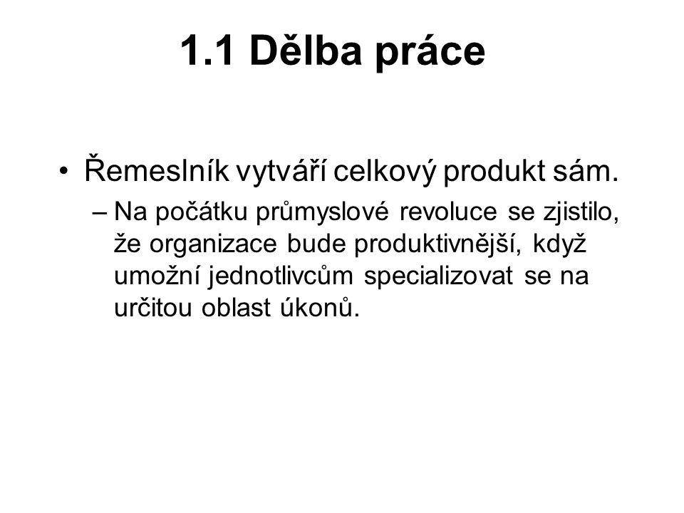 1.1 Dělba práce Řemeslník vytváří celkový produkt sám.