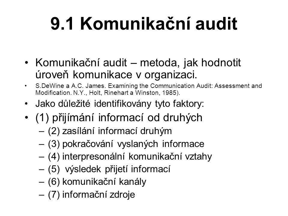 9.1 Komunikační audit Komunikační audit – metoda, jak hodnotit úroveň komunikace v organizaci.