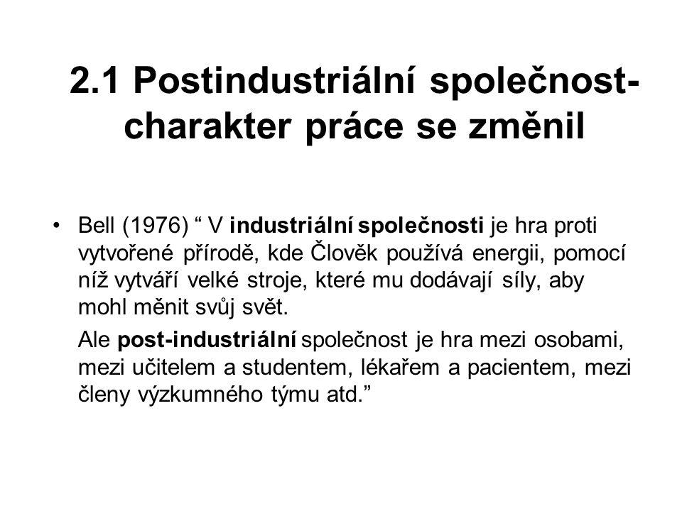 2.1 Postindustriální společnost- charakter práce se změnil Bell (1976) V industriální společnosti je hra proti vytvořené přírodě, kde Člověk používá energii, pomocí níž vytváří velké stroje, které mu dodávají síly, aby mohl měnit svůj svět.