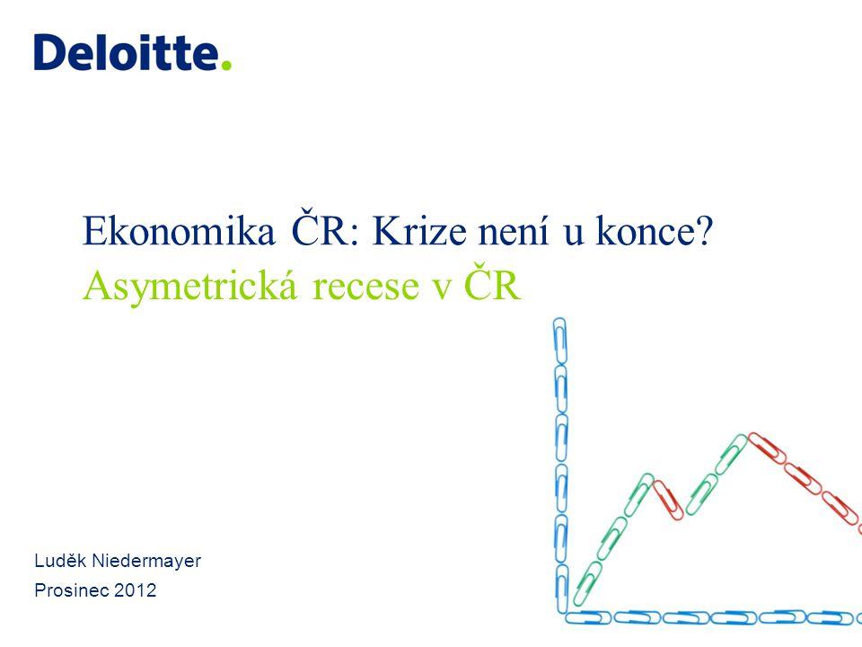 """12 © 2012 Deloitte Česká republika Dilema dneška: """"Růst či konsolidovat? Růstový kemp: Ekonomický růst usnadňuje fiskální konsolidaci a snižuje riziko deflace Stabilnější politické prostředí je také příznivější pro reformy Konsolidace spojená se recesí vytváží riziko """"spirály poklesu Konsolidační aliance: Potřeba konsolidace je neodiskutovatelná, důvěra trhu je klíčová vzhledem k potřebě nových půjček Možnosti státu podpořit udržitelně růst jsou velmi omezené Na míře záleží: Jak vysokého růstu jsou ekonomiky schopny, aniž by došlo k opakování vývoje před krizí Nehrozí z přebytku stimulů vznik bublin, inflace či nové nestability."""