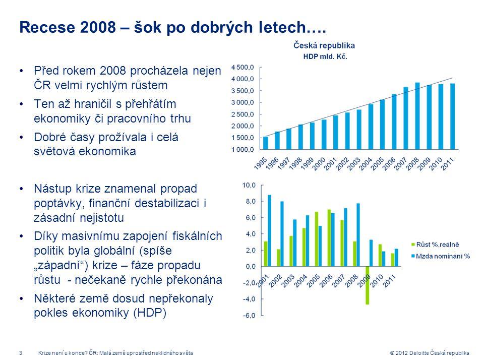 3 © 2012 Deloitte Česká republika Recese 2008 – šok po dobrých letech…. Před rokem 2008 procházela nejen ČR velmi rychlým růstem Ten až hraničil s pře
