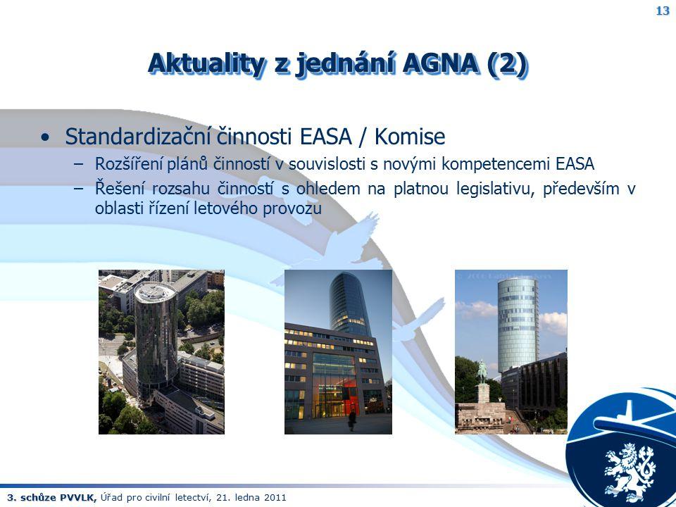 3. schůze PVVLK, 3. schůze PVVLK, Úřad pro civilní letectví, 21. ledna 2011 Aktuality z jednání AGNA (2) Standardizační činnosti EASA / Komise –Rozšíř