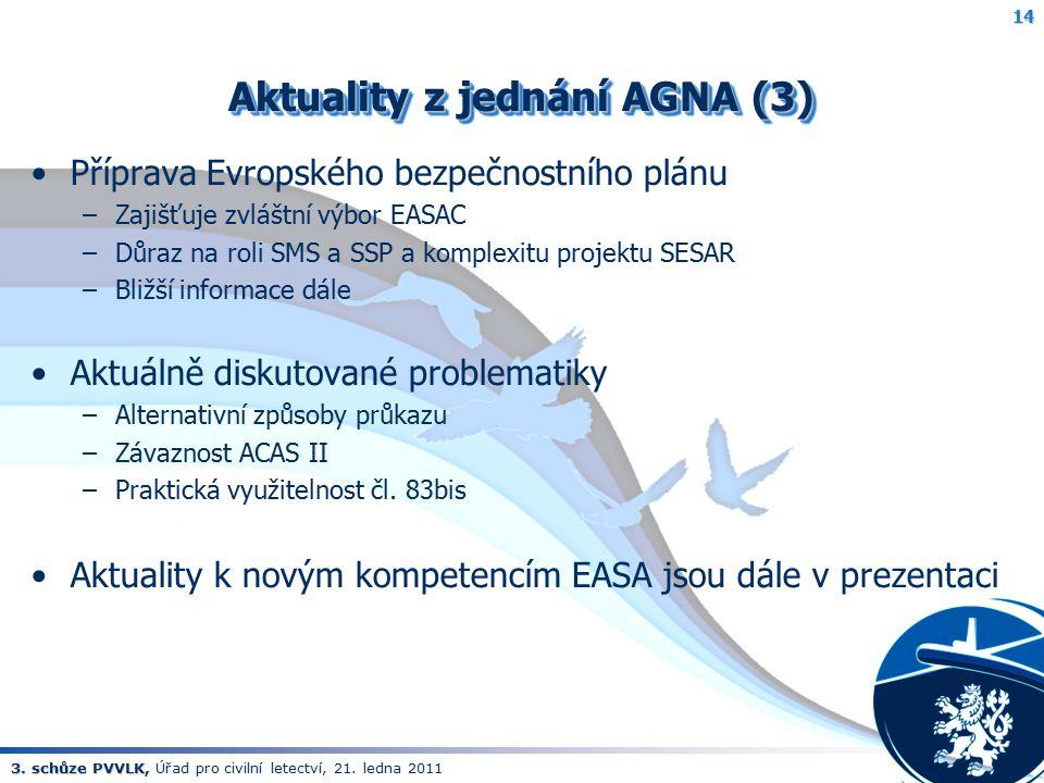 3. schůze PVVLK, 3. schůze PVVLK, Úřad pro civilní letectví, 21. ledna 2011 Aktuality z jednání AGNA (3) Příprava Evropského bezpečnostního plánu –Zaj