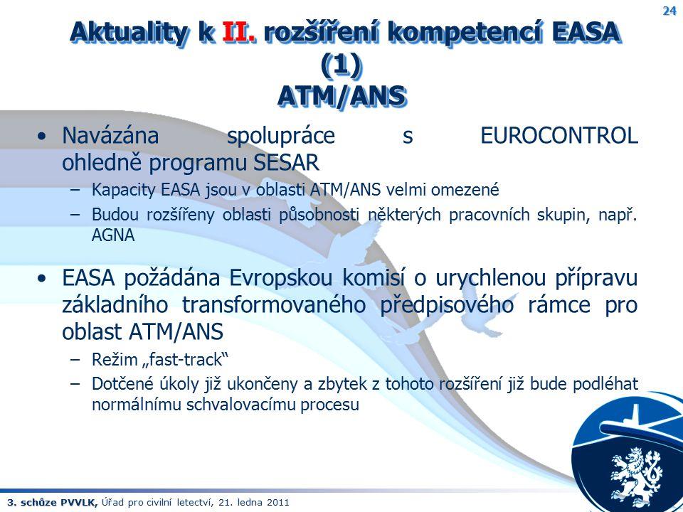 3. schůze PVVLK, 3. schůze PVVLK, Úřad pro civilní letectví, 21. ledna 2011 Aktuality k II. rozšíření kompetencí EASA (1) ATM/ANS Aktuality k II. rozš