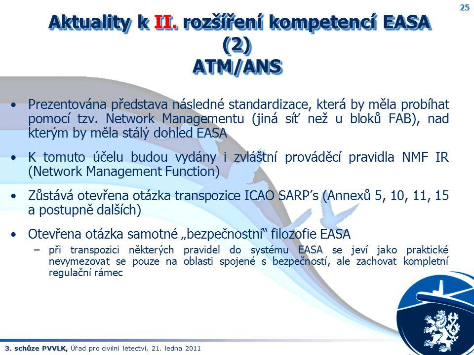 3. schůze PVVLK, 3. schůze PVVLK, Úřad pro civilní letectví, 21. ledna 2011 Aktuality k II. rozšíření kompetencí EASA (2) ATM/ANS Aktuality k II. rozš