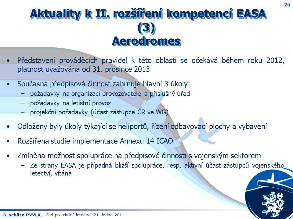 3. schůze PVVLK, 3. schůze PVVLK, Úřad pro civilní letectví, 21. ledna 2011 Aktuality k II. rozšíření kompetencí EASA (3) Aerodromes Aktuality k II. r