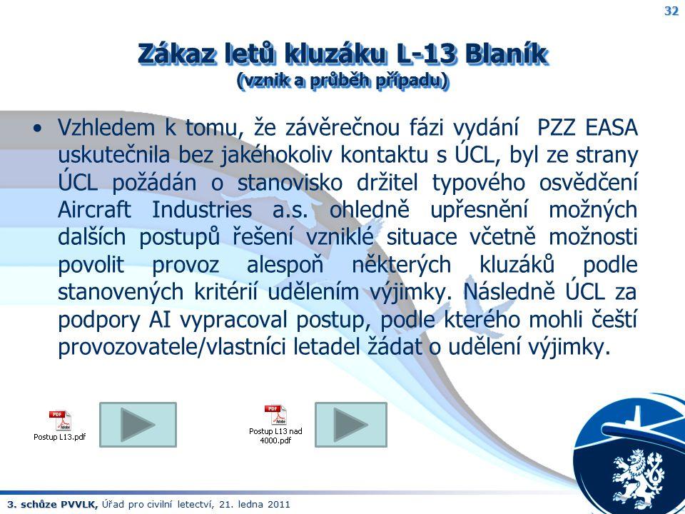 3. schůze PVVLK, 3. schůze PVVLK, Úřad pro civilní letectví, 21. ledna 2011 Zákaz letů kluzáku L-13 Blaník (vznik a průběh případu) Vzhledem k tomu, ž