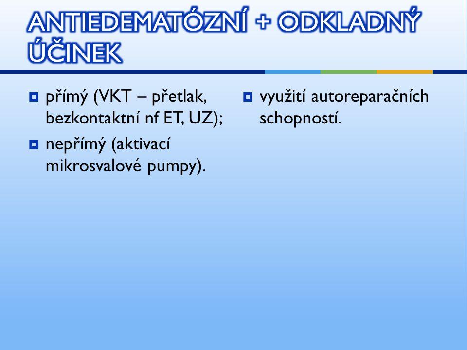  přímý (VKT – přetlak, bezkontaktní nf ET, UZ);  nepřímý (aktivací mikrosvalové pumpy).