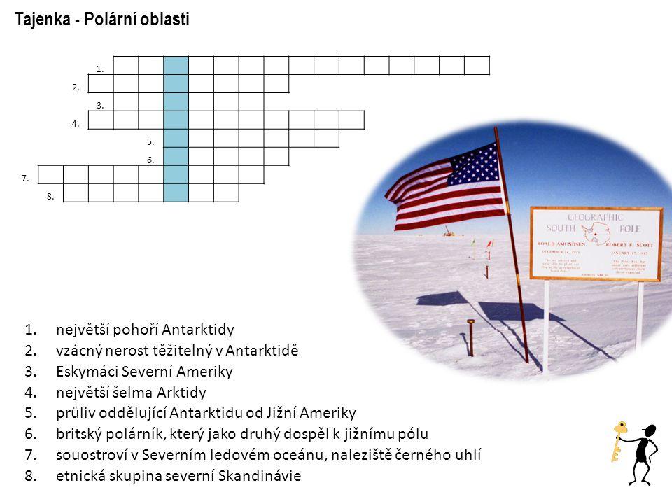 1.největší pohoří Antarktidy 2.vzácný nerost těžitelný v Antarktidě 3.Eskymáci Severní Ameriky 4.největší šelma Arktidy 5.průliv oddělující Antarktidu od Jižní Ameriky 6.britský polárník, který jako druhý dospěl k jižnímu pólu 7.souostroví v Severním ledovém oceánu, naleziště černého uhlí 8.etnická skupina severní Skandinávie Tajenka - Polární oblasti 1.