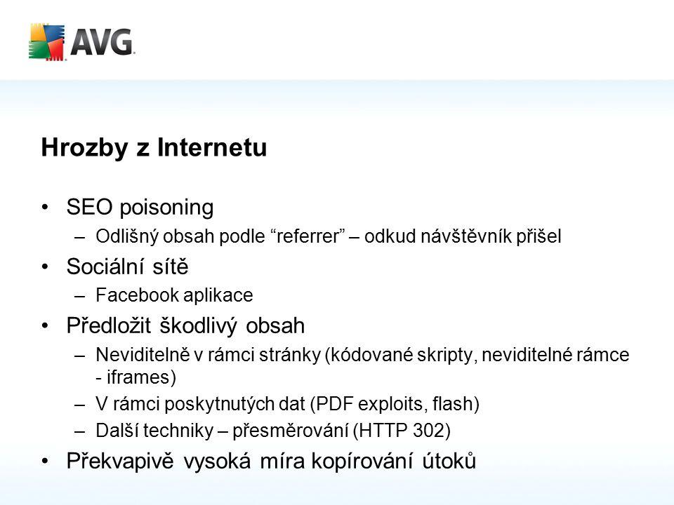 Hrozby z Internetu SEO poisoning –Odlišný obsah podle referrer – odkud návštěvník přišel Sociální sítě –Facebook aplikace Předložit škodlivý obsah –Neviditelně v rámci stránky (kódované skripty, neviditelné rámce - iframes) –V rámci poskytnutých dat (PDF exploits, flash) –Další techniky – přesměrování (HTTP 302) Překvapivě vysoká míra kopírování útoků