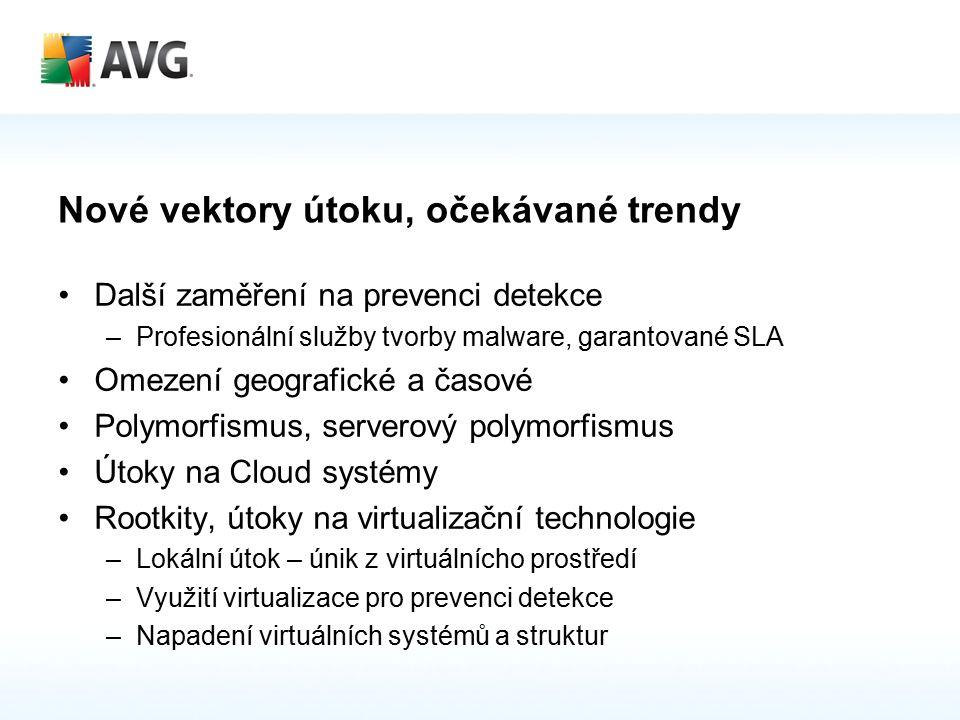 Nové vektory útoku, očekávané trendy Další zaměření na prevenci detekce –Profesionální služby tvorby malware, garantované SLA Omezení geografické a časové Polymorfismus, serverový polymorfismus Útoky na Cloud systémy Rootkity, útoky na virtualizační technologie –Lokální útok – únik z virtuálnícho prostředí –Využití virtualizace pro prevenci detekce –Napadení virtuálních systémů a struktur