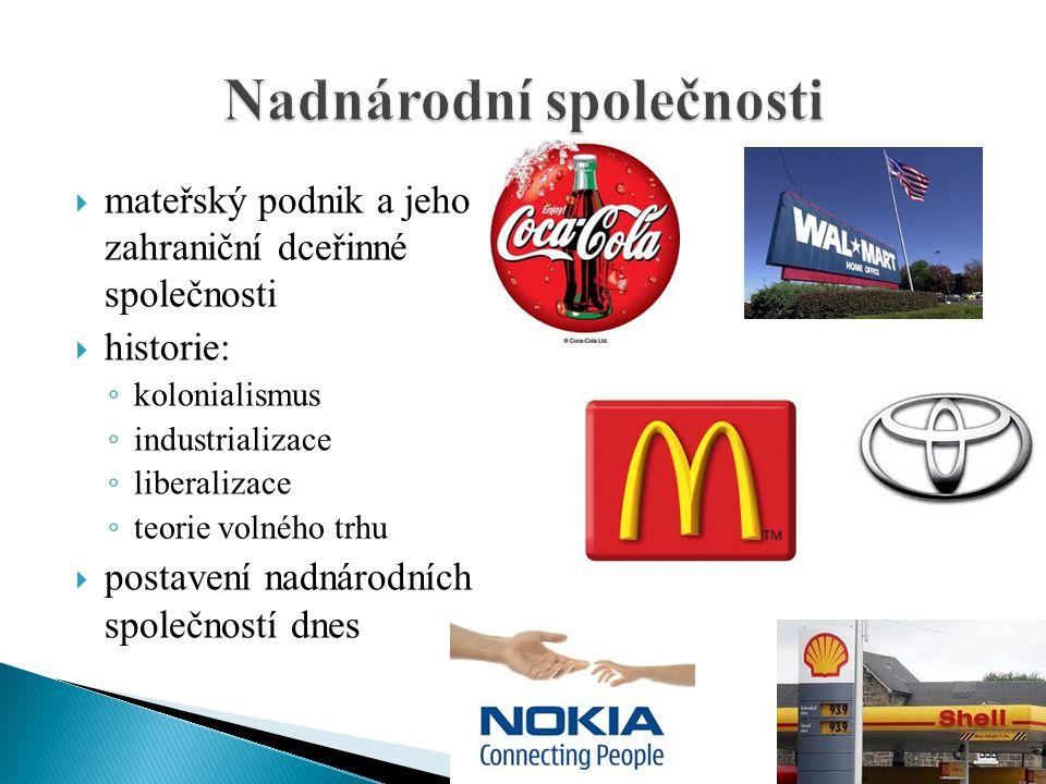  mateřský podnik a jeho zahraniční dceřinné společnosti  historie: ◦ kolonialismus ◦ industrializace ◦ liberalizace ◦ teorie volného trhu  postaven