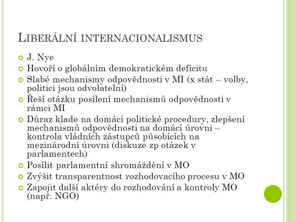 L IBERÁLNÍ INTERNACIONALISMUS J. Nye Hovoří o globálním demokratickém deficitu Slabé mechanismy odpovědnosti v MI (x stát – volby, politici jsou odvol