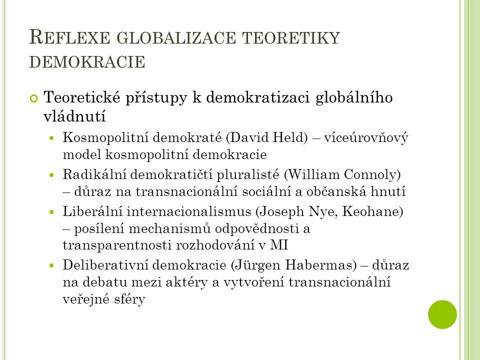 R EFLEXE GLOBALIZACE TEORETIKY DEMOKRACIE Teoretické přístupy k demokratizaci globálního vládnutí Kosmopolitní demokraté (David Held) – víceúrovňový m