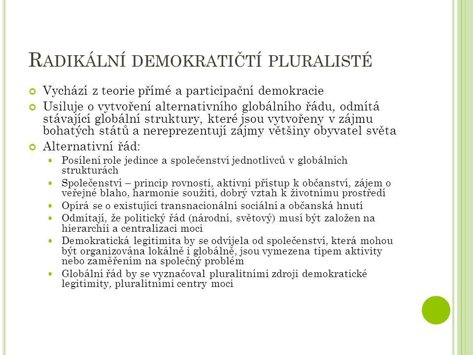 D ELIBERATIVNÍ PŘÍSTUP Odlišné je úsilí o demokratizaci stávajících politických struktur, nejde o vytváření nových struktur Legitimitu stávajících rozhodovacích procesů může posílit debata a jedním ze zdrojů demokratické kontroly nad stávajícím systémem vládnutí v mezinárodním systému může být transnacionální občanská společnost Podstatou demokratické legitimity je deliberace (diskuze) Vládnutí by mělo být založeno na veřejné diskuzi členů společenství, kterých se dané rozhodování dotýká.