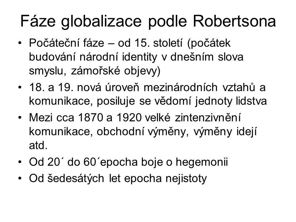Fáze globalizace podle Robertsona Počáteční fáze – od 15. století (počátek budování národní identity v dnešním slova smyslu, zámořské objevy) 18. a 19