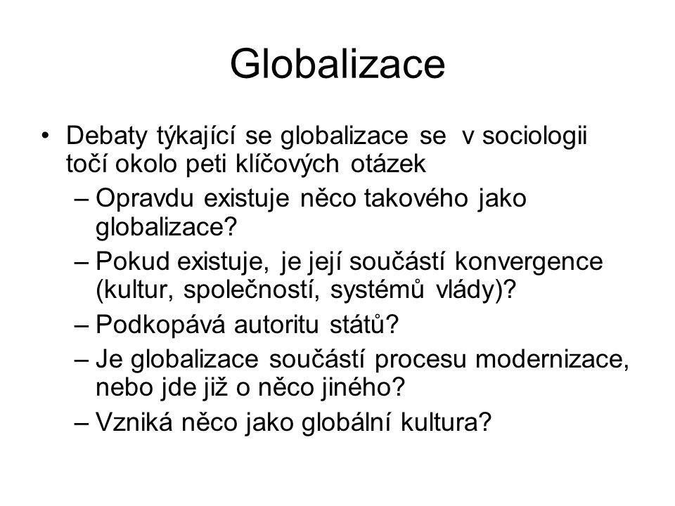 Globalizace Debaty týkající se globalizace se v sociologii točí okolo peti klíčových otázek –Opravdu existuje něco takového jako globalizace? –Pokud e