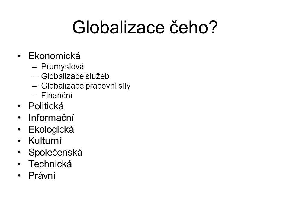 Globalizace čeho? Ekonomická –Průmyslová –Globalizace služeb –Globalizace pracovní síly –Finanční Politická Informační Ekologická Kulturní Společenská