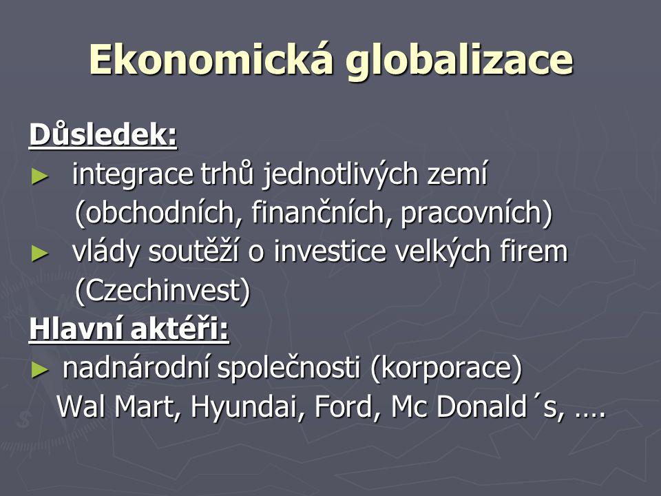 Ekonomická globalizace Důsledek: ► integrace trhů jednotlivých zemí (obchodních, finančních, pracovních) (obchodních, finančních, pracovních) ► vlády