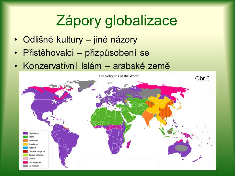 Zápory globalizace Odlišné kultury – jiné názory Přistěhovalci – přizpůsobení se Konzervativní Islám – arabské země Obr.6