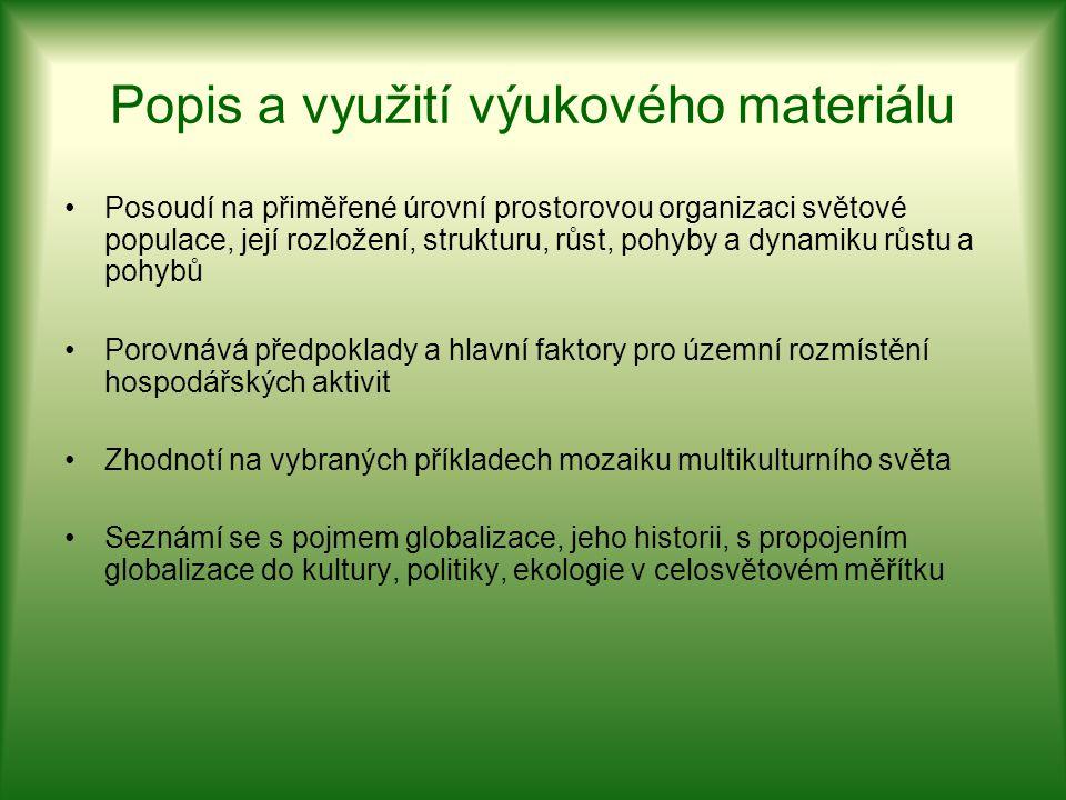 Popis a využití výukového materiálu Posoudí na přiměřené úrovní prostorovou organizaci světové populace, její rozložení, strukturu, růst, pohyby a dyn