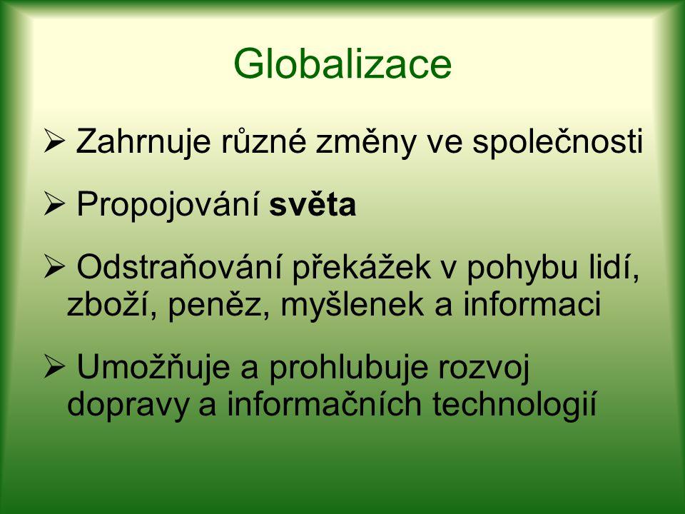 Globalizace  Zahrnuje různé změny ve společnosti  Propojování světa  Odstraňování překážek v pohybu lidí, zboží, peněz, myšlenek a informaci  Umož