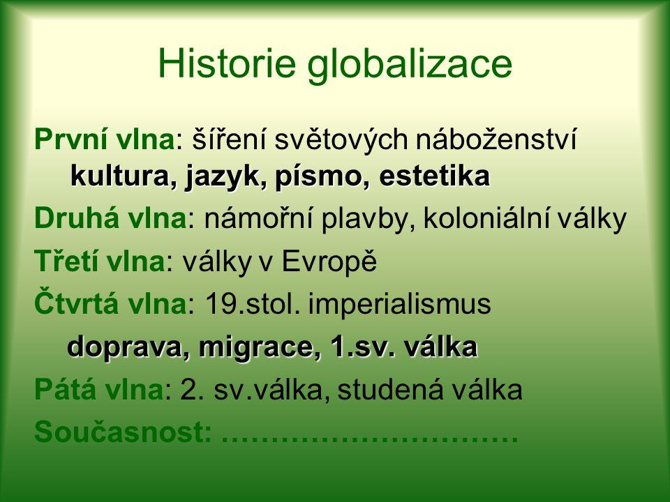 Historie globalizace kultura, jazyk, písmo, estetika První vlna: šíření světových náboženství kultura, jazyk, písmo, estetika Druhá vlna: námořní plav