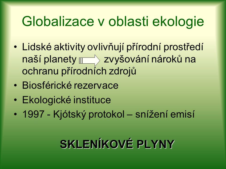 Globalizace v oblasti ekologie Lidské aktivity ovlivňují přírodní prostředí naší planety zvyšování nároků na ochranu přírodních zdrojů Biosférické rez