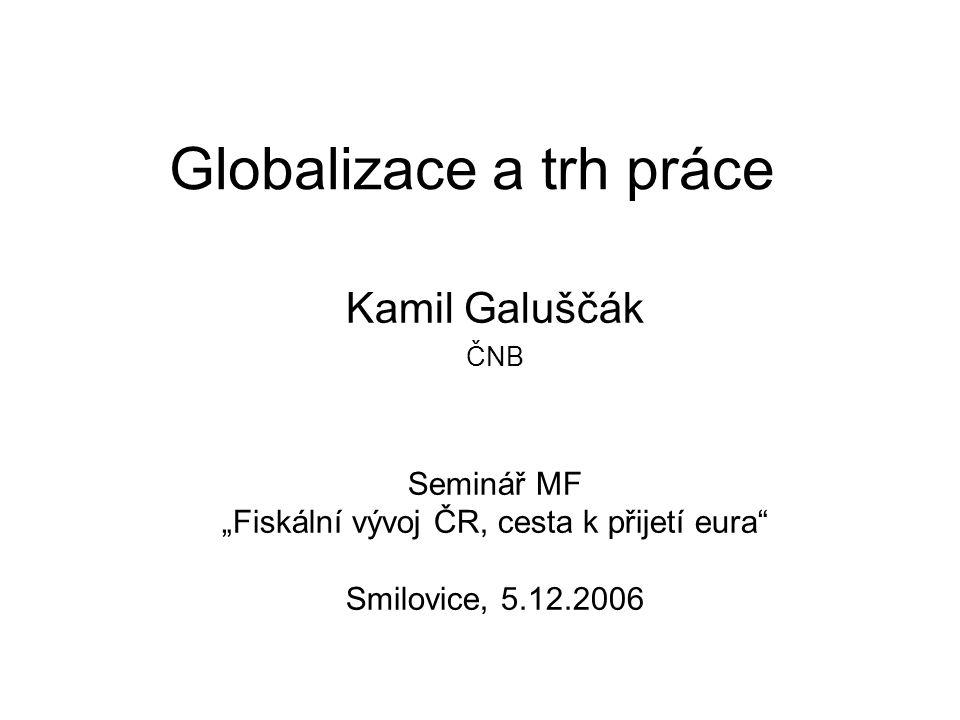 Globalizace z pohledu ČR: malá otevřená ekonomika Cizinci na českém trhu práce –Změny v nabídce práce nebo poptávce po práci.