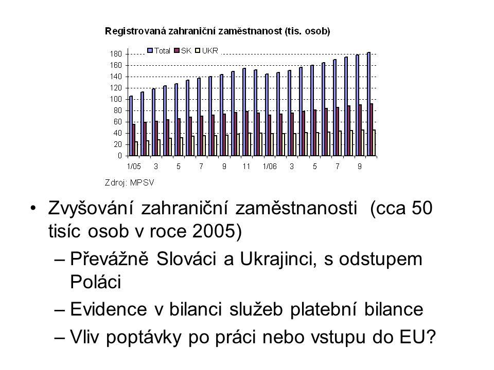 Zvyšování zahraniční zaměstnanosti (cca 50 tisíc osob v roce 2005) –Převážně Slováci a Ukrajinci, s odstupem Poláci –Evidence v bilanci služeb platební bilance –Vliv poptávky po práci nebo vstupu do EU