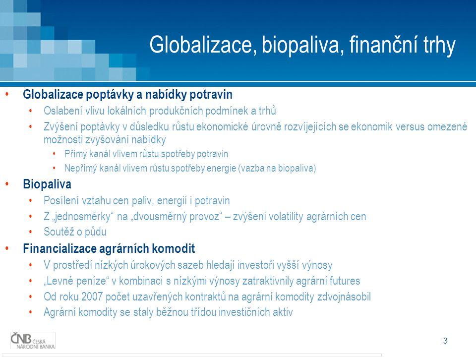 3 Globalizace, biopaliva, finanční trhy Globalizace poptávky a nabídky potravin Oslabení vlivu lokálních produkčních podmínek a trhů Zvýšení poptávky