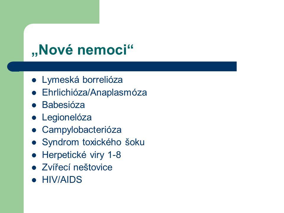 """""""Nové nemoci"""" Lymeská borrelióza Ehrlichióza/Anaplasmóza Babesióza Legionelóza Campylobacterióza Syndrom toxického šoku Herpetické viry 1-8 Zvířecí ne"""