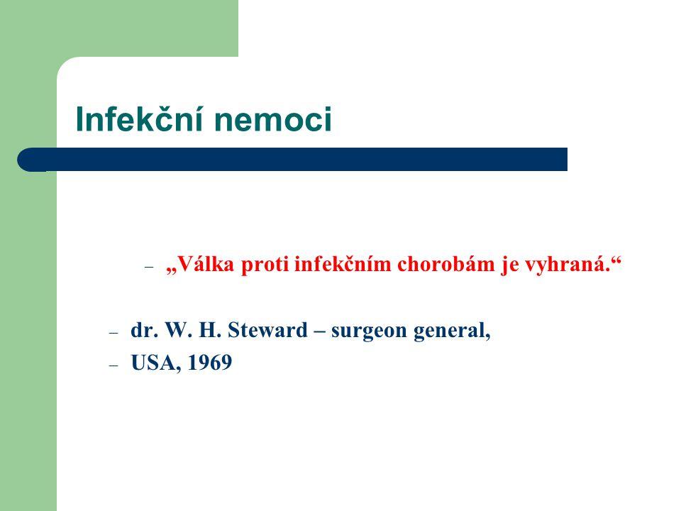 "Infekční nemoci – ""Válka proti infekčním chorobám je vyhraná."" – dr. W. H. Steward – surgeon general, – USA, 1969"