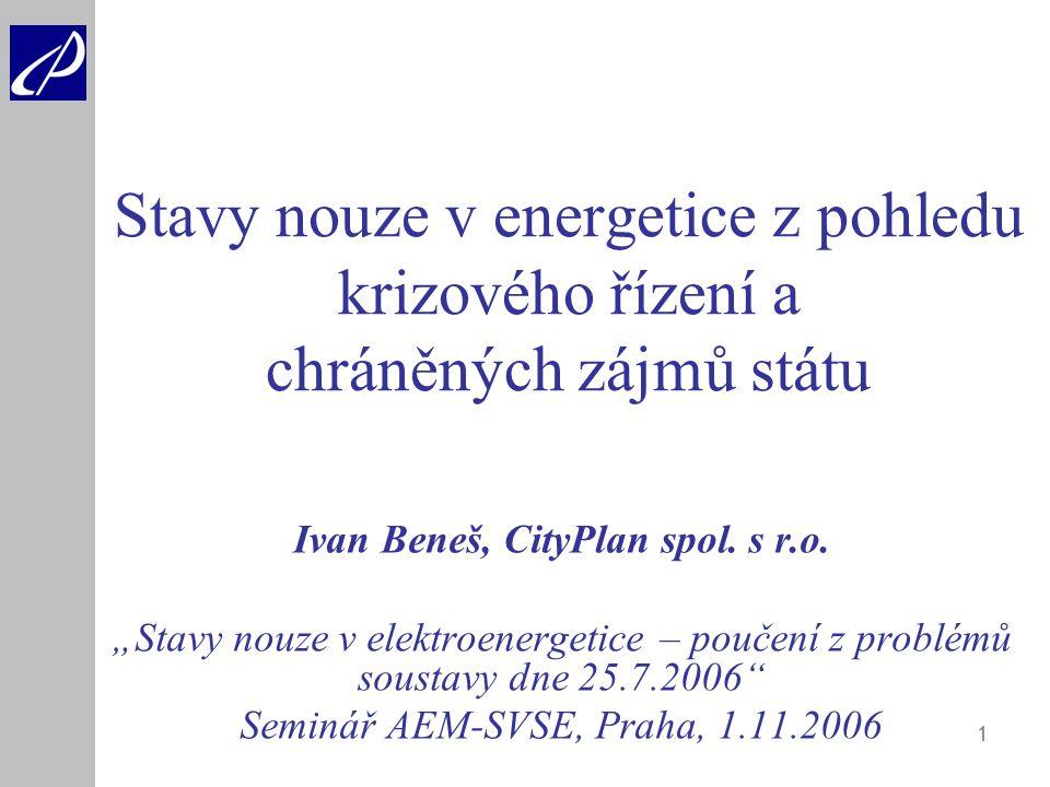 """1 Stavy nouze v energetice z pohledu krizového řízení a chráněných zájmů státu Ivan Beneš, CityPlan spol. s r.o. """"Stavy nouze v elektroenergetice – po"""