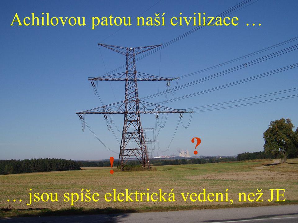 13 ? ! Achilovou patou naší civilizace … … jsou spíše elektrická vedení, než JE
