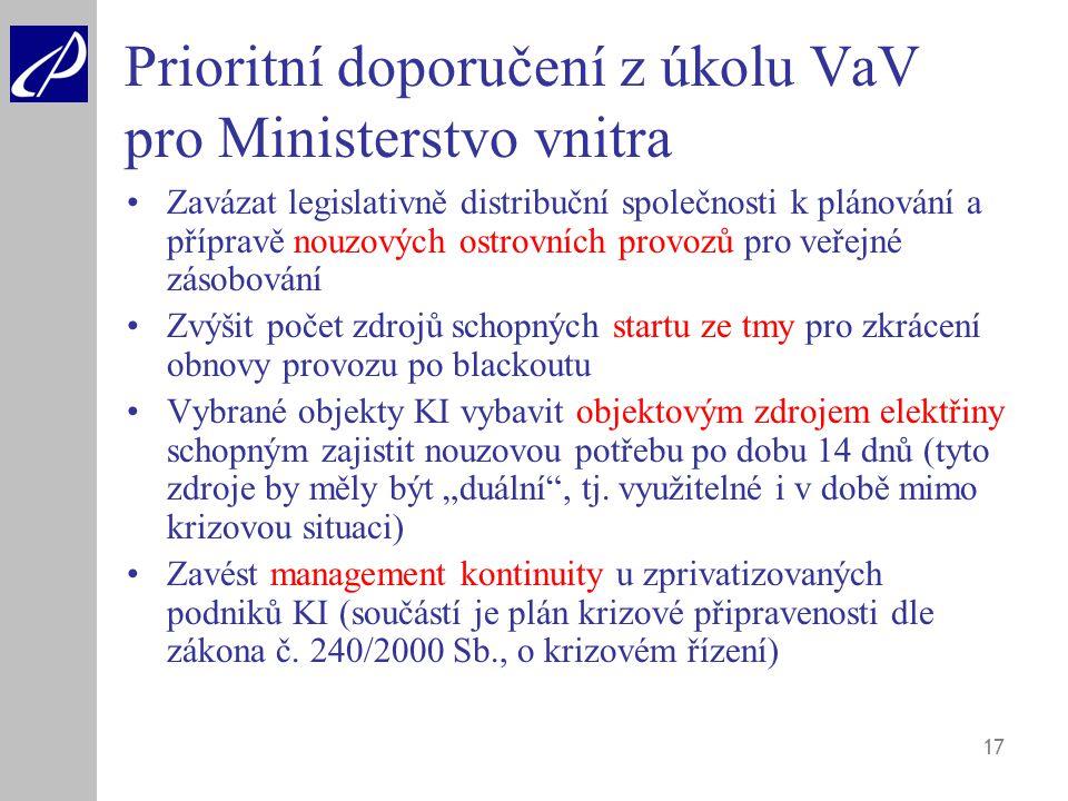 17 Prioritní doporučení z úkolu VaV pro Ministerstvo vnitra Zavázat legislativně distribuční společnosti k plánování a přípravě nouzových ostrovních p
