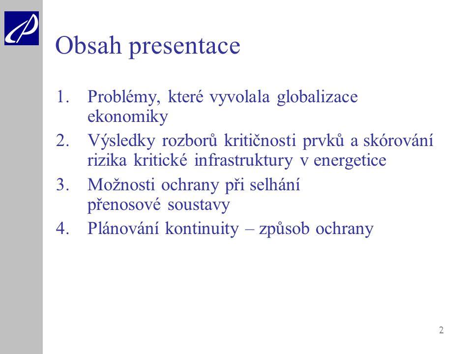 2 Obsah presentace 1.Problémy, které vyvolala globalizace ekonomiky 2.Výsledky rozborů kritičnosti prvků a skórování rizika kritické infrastruktury v