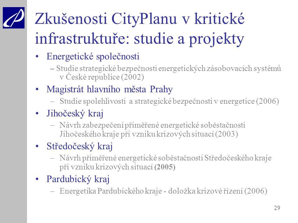 29 Zkušenosti CityPlanu v kritické infrastruktuře: studie a projekty Energetické společnosti – Studie strategické bezpečnosti energetických zásobovací