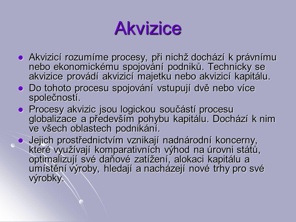 Akvizice Akvizicí rozumíme procesy, při nichž dochází k právnímu nebo ekonomickému spojování podniků.