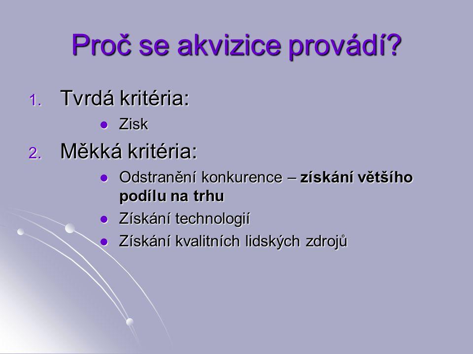 Proč se akvizice provádí. 1. Tvrdá kritéria: Zisk Zisk 2.