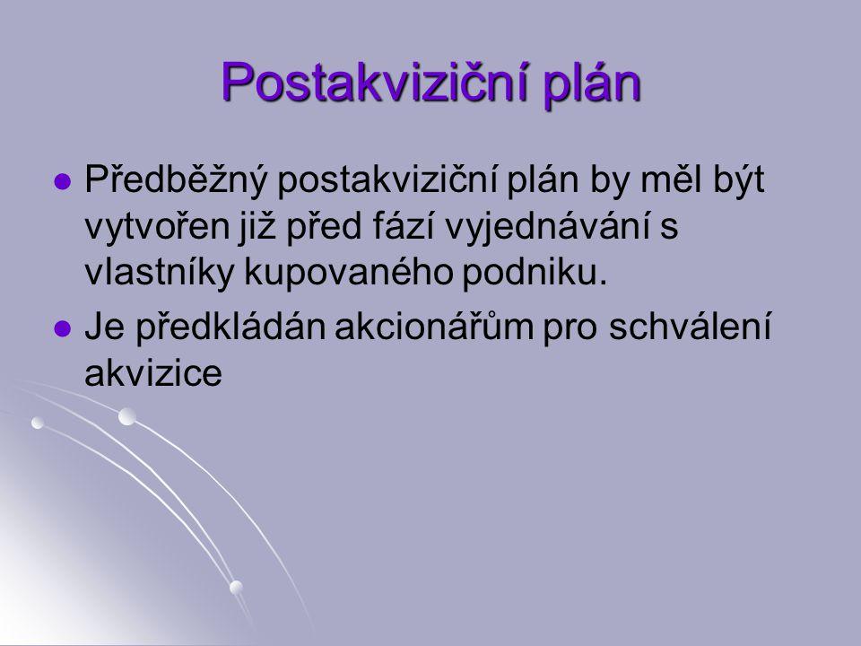 Postakviziční plán Předběžný postakviziční plán by měl být vytvořen již před fází vyjednávání s vlastníky kupovaného podniku.