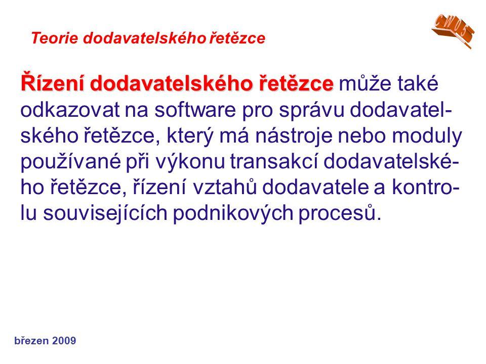 březen 2009 Teorie dodavatelského řetězce Řízení dodavatelského řetězce Řízení dodavatelského řetězce může také odkazovat na software pro správu dodav