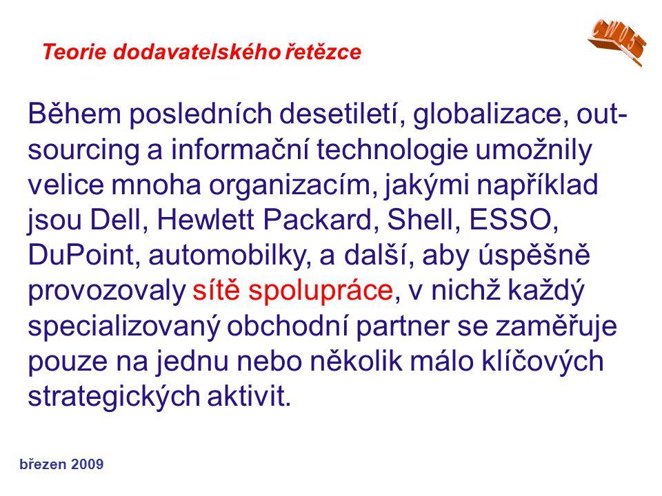 březen 2009 Teorie dodavatelského řetězce Během posledních desetiletí, globalizace, out- sourcing a informační technologie umožnily velice mnoha organ