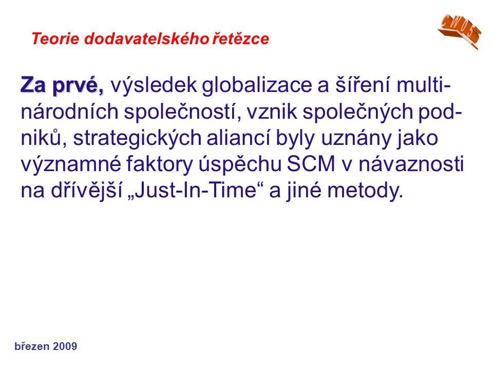 březen 2009 Teorie dodavatelského řetězce Za prvé, Za prvé, výsledek globalizace a šíření multi- národních společností, vznik společných pod- niků, st